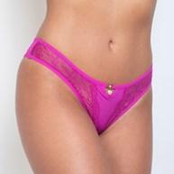 Conjunto lingerie gargantilha luxo em microfibra com renda e bijuteria K86.E