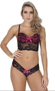 Conjunto lingerie luxo cropped em renda com lacinho em cetim K239.B