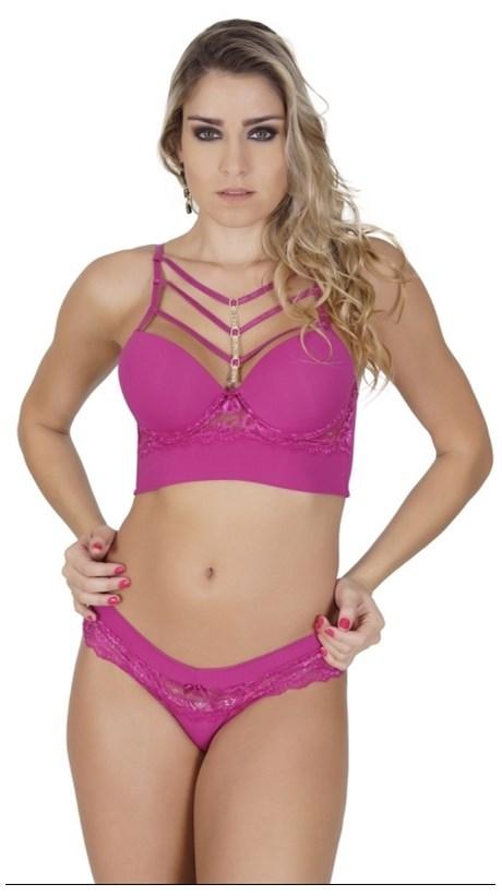 Conjunto lingerie luxo cropped strappy em microfibra com bijuteria K57.D