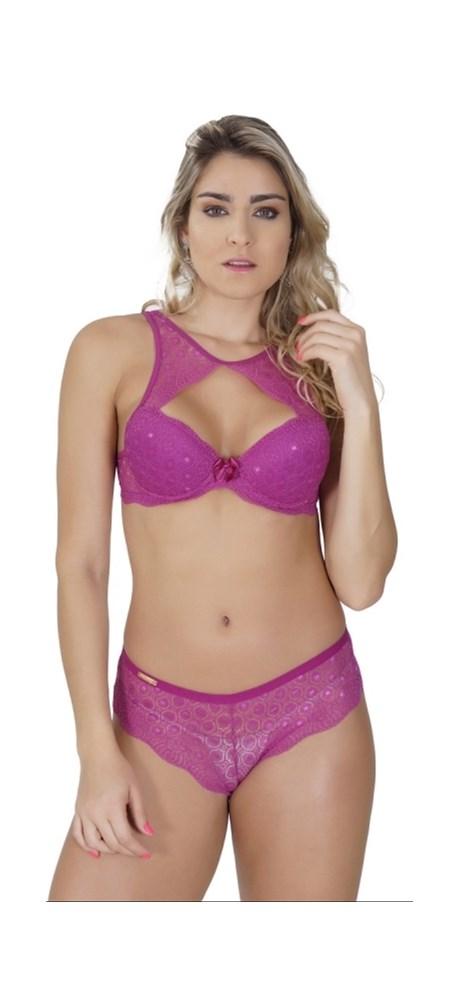 Conjunto lingerie luxo gargantilha em renda lisa com lacinho K102.E