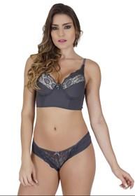 Conjunto lingerie luxo strappy bra em microfibra lisa com renda K102.D
