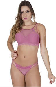Conjunto lingerie luxo strappy bra em microfibra lisa e renda K216.A