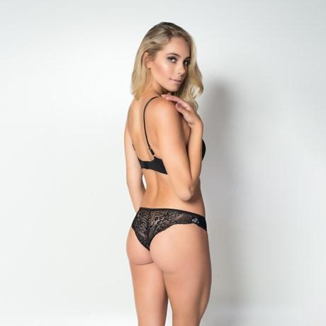 Conjunto lingerie luxo strappy bra em suede com renda e bijuteria K148.D