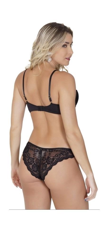 Conjunto lingerie luxo strappy bra em veludo com renda e bijuteria K167.C
