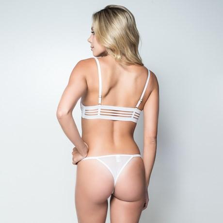 Conjunto lingerie luxo strappy em microfibra com tule bordado K150.D