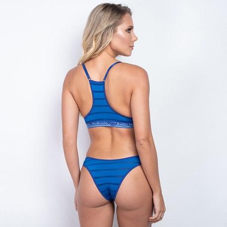 Conjunto lingerie nadador básico em microfibra listrada K249.C