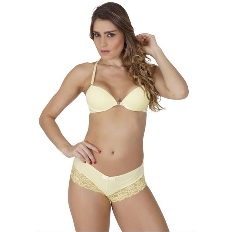 Conjunto lingerie nadador caleçon em microfibra lisa com renda K173.B AMARELO