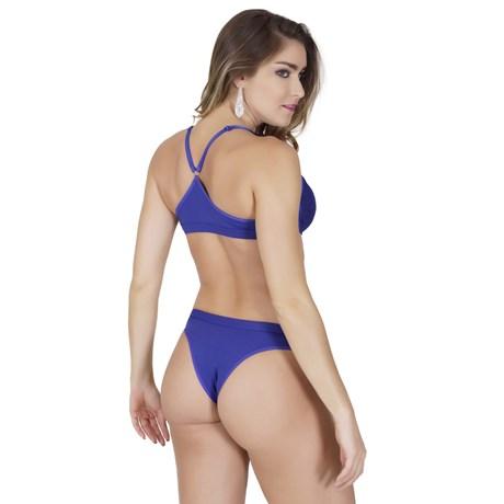 Conjunto lingerie nadador em microfibra lisa e renda K136.BB