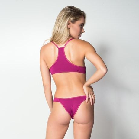 Conjunto lingerie nadador em microfibra texturizada com lacinho K36.E GROSELHA