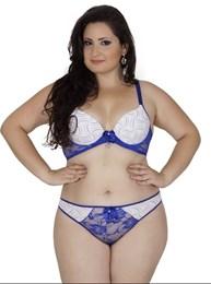 Conjunto lingerie plus size em microfibra estampada com renda AA61.A