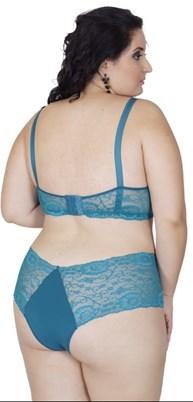 Conjunto lingerie plus size em microfibra lisa com renda AA50.A