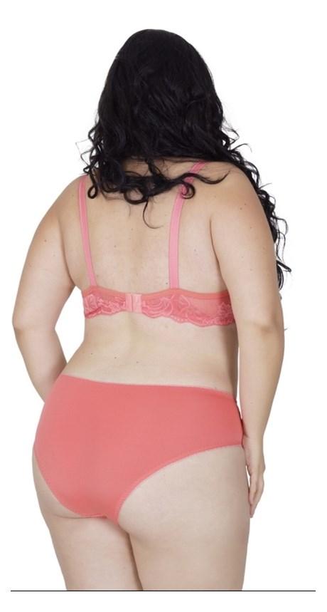 Conjunto lingerie plus size reforçado em microfibra lisa e renda AA28.E