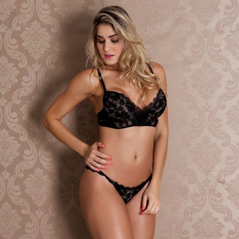 1870c7022 Conjunto lingerie premium decote profundo em renda importada K164.B