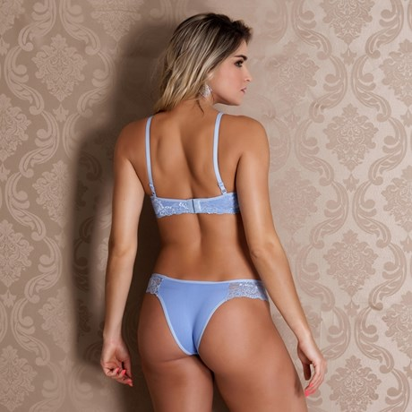 Conjunto lingerie premium em renda com microfibra lisa K151.D