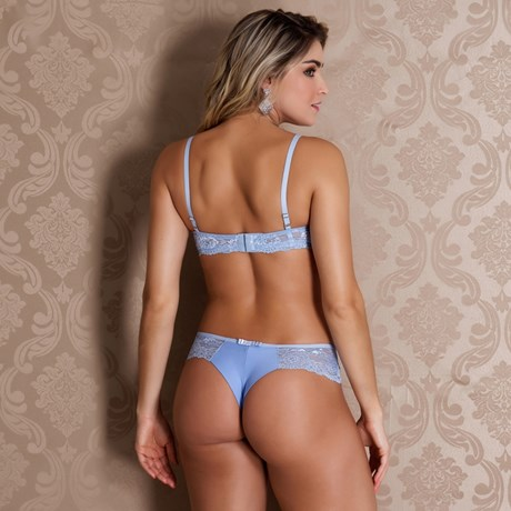 Conjunto lingerie premium fio duplo em renda com microfibra lisa K166.D
