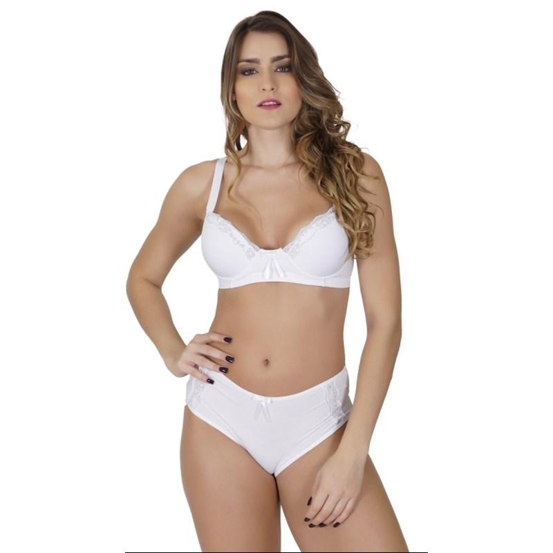 Conjunto lingerie reforçado em microfibra com detalhes em renda K45.C BRANCO