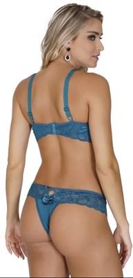Conjunto lingerie reforçado em microfibra com renda e bijuteria K30.D