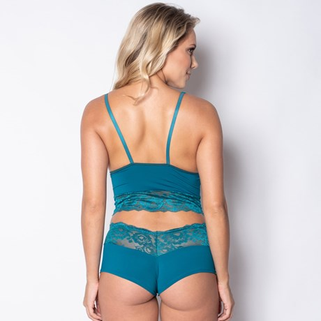 Conjunto lingerie sem bojo caleçon em renda e microfibra lisa U20