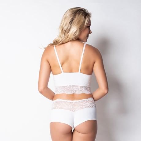 Conjunto lingerie sem bojo caleçon em renda e microfibra lisa U20 BRANCO