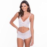 Conjunto lingerie sem bojo cropped caleçon em renda com lacinhos U23