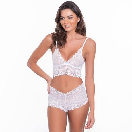 4305c0bb6 Conjunto lingerie sem bojo cropped caleçon em renda com lacinhos U23 ...