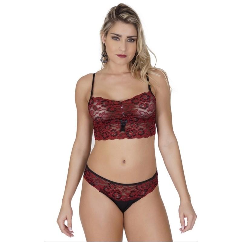 Conjunto lingerie sem bojo em microfibra lisa e renda bordada U05.A VERMELHO COM PRETO