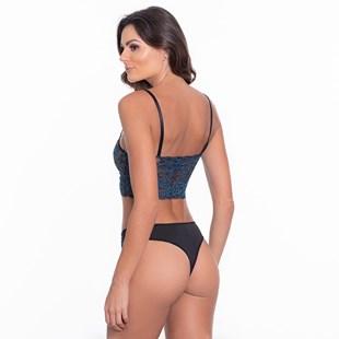 Conjunto lingerie sem bojo em microfibra lisa e renda bordada U05.A