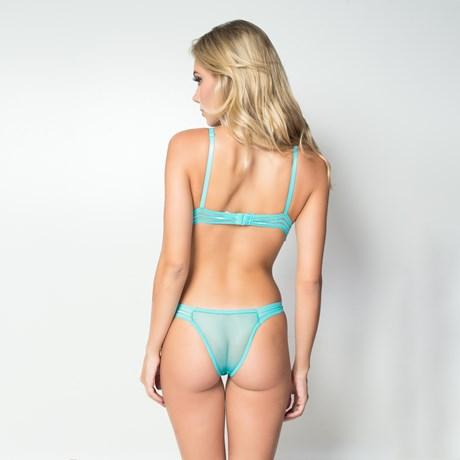 Conjunto lingerie sem bojo strappy bra sem bojo em tule liso e lacinho U07.A