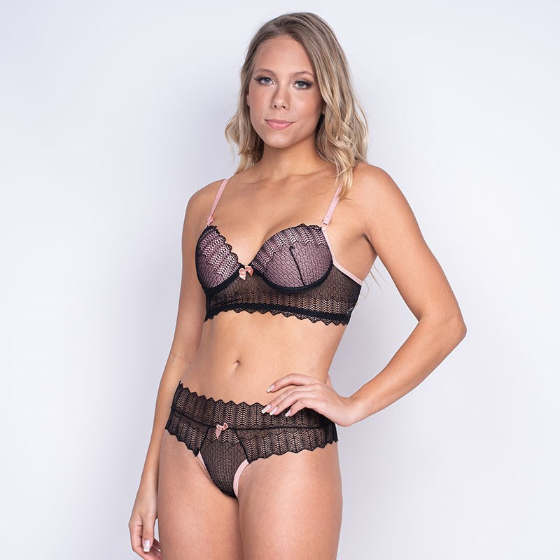 Conjunto lingerie sensual em renda com sobreposição K104.B GROSELHA COM AZUL CLARO