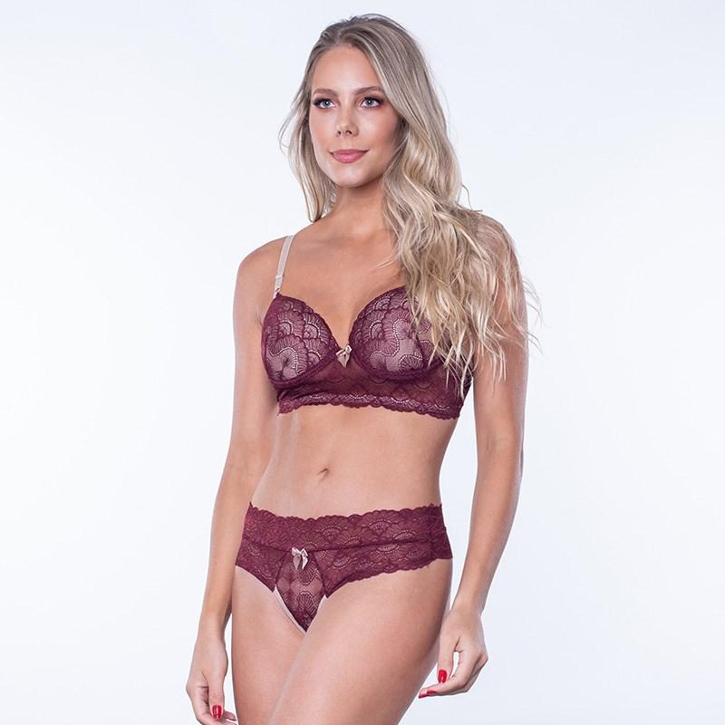Conjunto lingerie sensual em renda com sobreposição K104.B GROSELHA COM PRETO