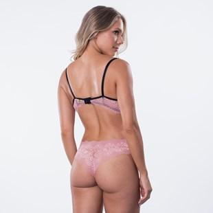 Conjunto lingerie sensual em renda com sobreposição K104.B