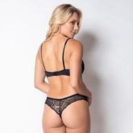 Conjunto lingerie sexy em microfibra lisa com renda K97.D PRETO