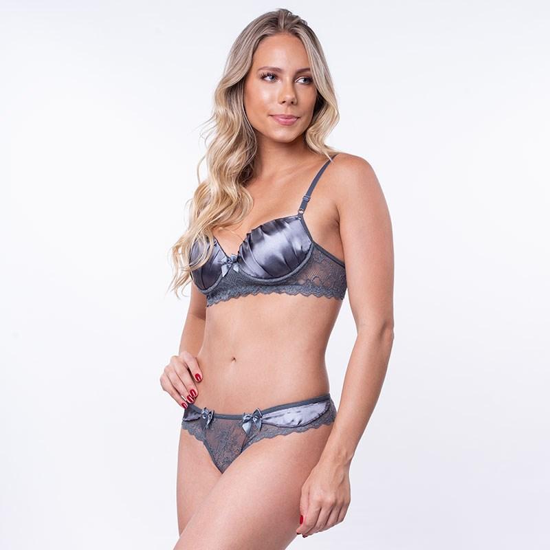 Conjunto lingerie sexy em renda com cetim e lacinhos K220.B GRAFITE
