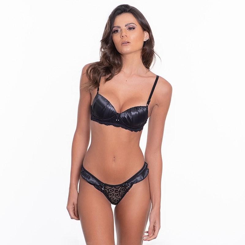 Conjunto lingerie sexy em renda com cetim e lacinhos K220.B PRETO