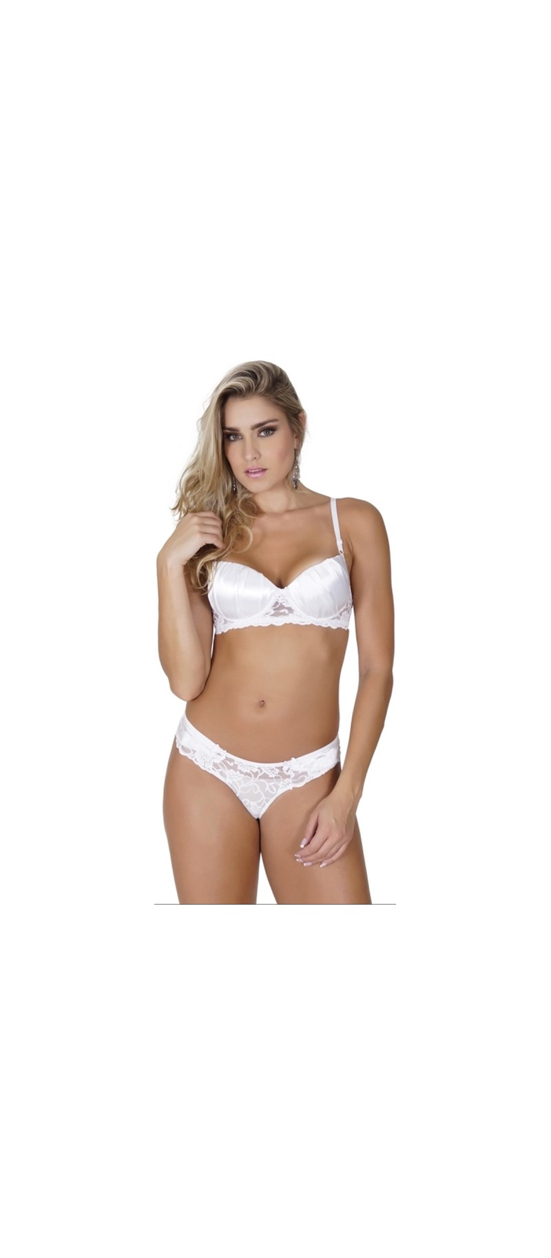 Conjunto lingerie sexy em renda com cetim e lacinhos K220.B BRANCO