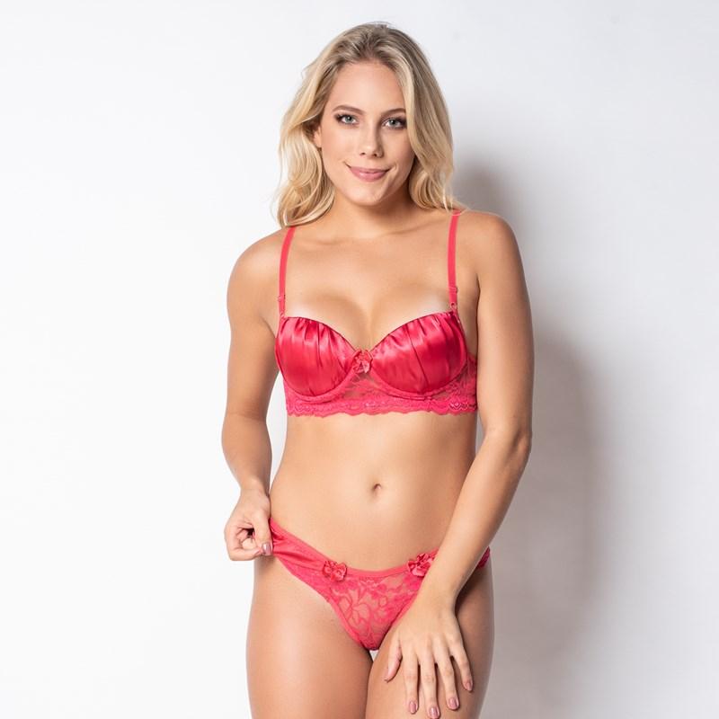 Conjunto lingerie sexy em renda com cetim e lacinhos K220.B ROSA ESCURO