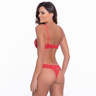 Conjunto lingerie sexy em renda com cetim e lacinhos K220.B
