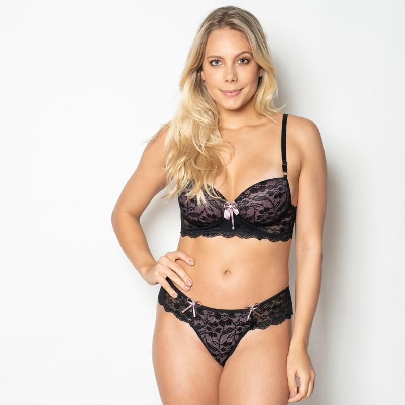 Conjunto lingerie sexy em renda com lacinhos em cetim K182.C PRETO