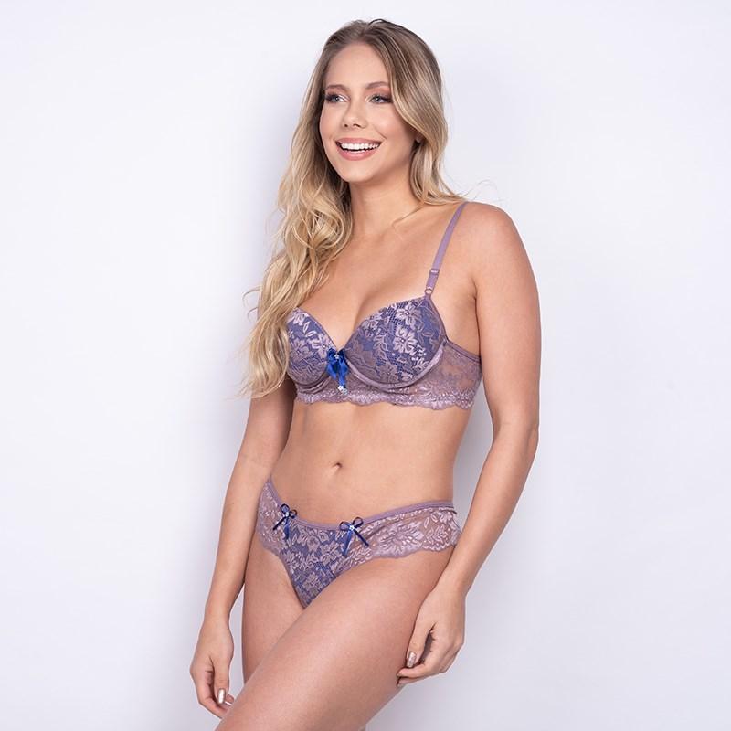 Conjunto lingerie sexy em renda com lacinhos em cetim K182.C UVA