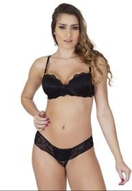 Conjunto lingerie sexy em renda e microfibra com lacinhos K13.A