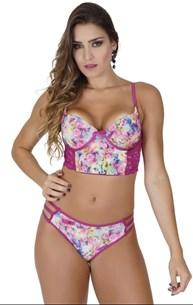 Conjunto lingerie strappy bra cropped em microfibra e renda K145.C