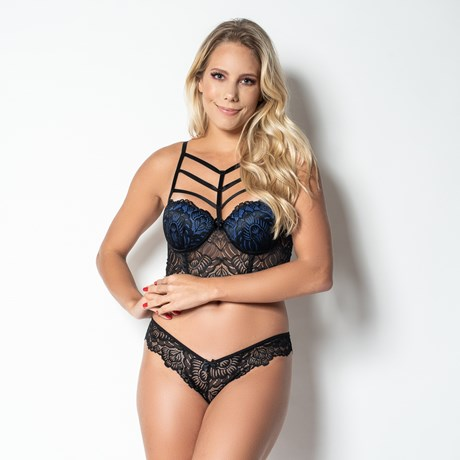 Conjunto lingerie strappy bra cropped em renda K264.B