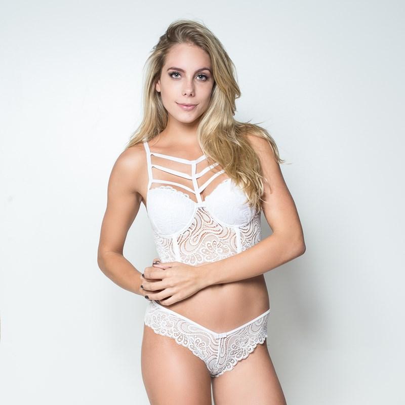 Conjunto lingerie strappy bra cropped em renda K264.B BRANCO VARIADO