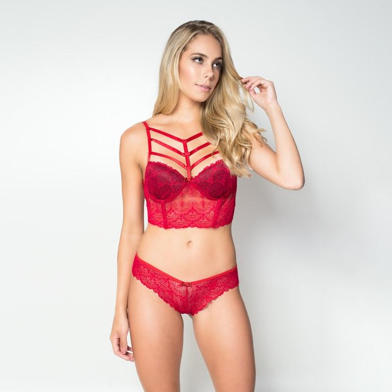 Conjunto lingerie strappy bra cropped em renda K264.B VERMELHO VARIADO