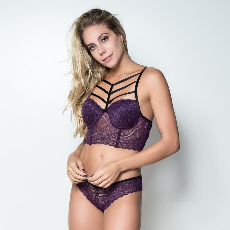 Conjunto lingerie strappy bra cropped em renda K264.B ROXO VARIADO