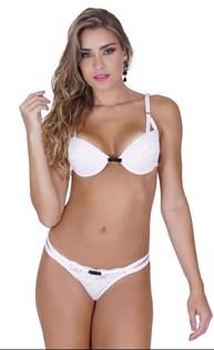 Conjunto lingerie strappy bra em microfibra lisa com renda e laço K109.B