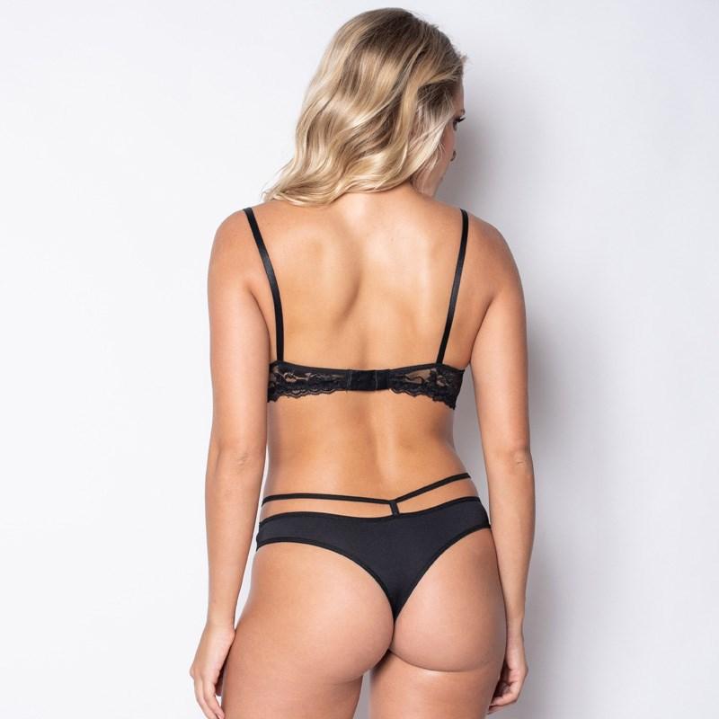 Conjunto lingerie strappy bra em microfibra lisa com renda K68.C VERMELHO