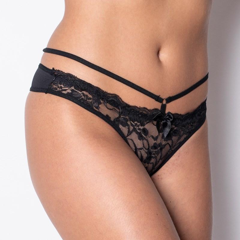 Conjunto lingerie strappy bra em microfibra lisa com renda K68.C