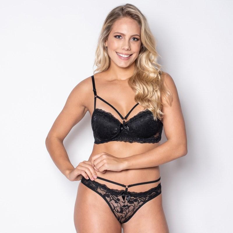Conjunto lingerie strappy bra em microfibra lisa com renda K68.C PRETO