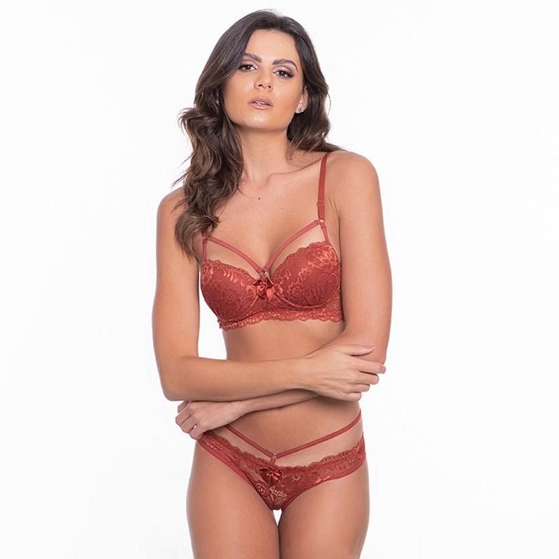 Conjunto lingerie strappy bra em microfibra lisa com renda K68.C CORAL